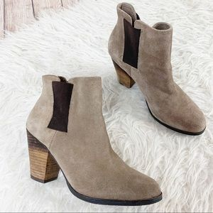 VINCE CAMUTO Boho Suede Ankle Booties Stacked Heel